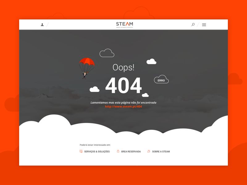 404 - Steam steam orange ux ui erro mockup clouds oops page 404