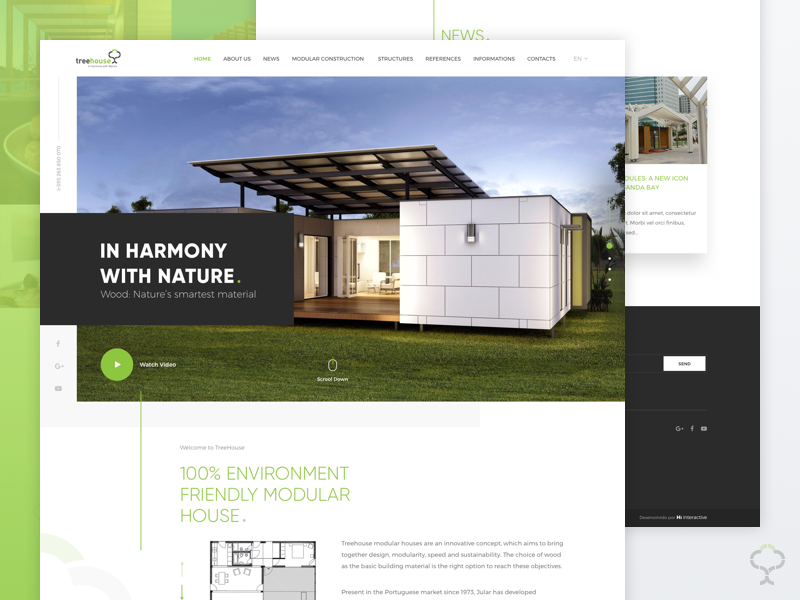 Treehouse portugal green website nature sell houses tree ui design