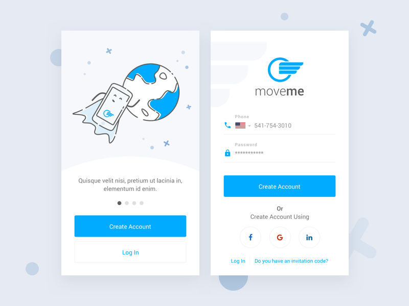 moveme - Login Screen client sign in sign up login screen login app
