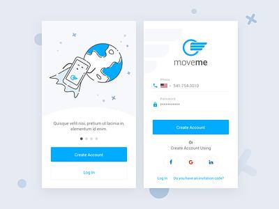 moveme - Login Screen client sign in sign up login screen login app