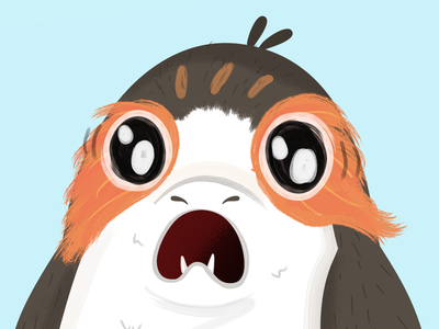 Porg fan art illustraion vector star wars day wildlife bird porg star wars