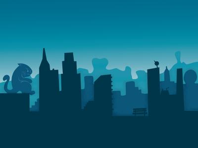 Sad Landscape 2d flat video game vector city illustration cat sad