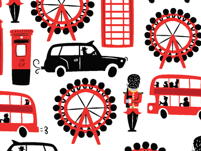 London Repeat pattern london eye bus cityscape red london taxi