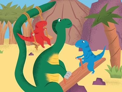Dino-see-saur illustration vector colours playground children swing dinosaur dino