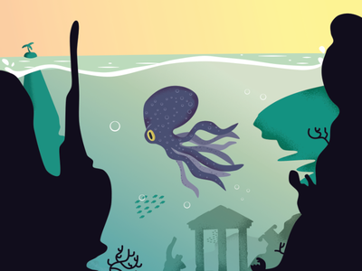 Underwater Jungle animals landscape game 2d colour vivid illustration vector tropical island greece octopus