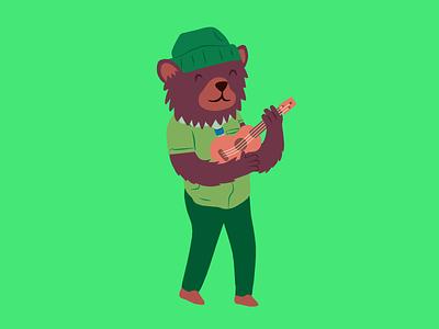 Ukulele Bear illustration cute green fire childrens camping bear ukulele scout