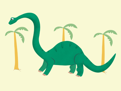Brontosaurus vector brontosaurus green yellow children book illustration cute dinosaur dinosaurs dino
