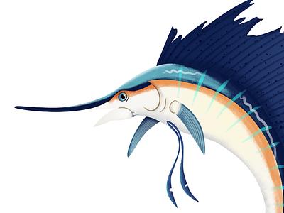 Sailfish character vibrant fishing sailing fish blue vector illustration