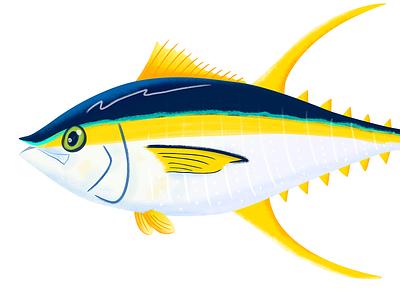 Yellowfin Tuna icon sealife tuna vivid colorful childrens illustration fish illustration editorial