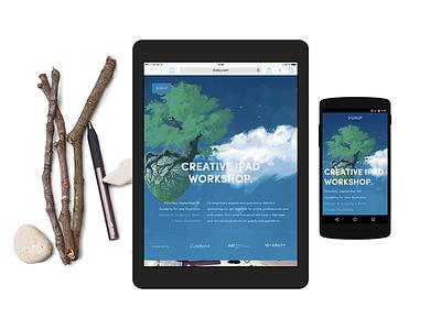 Creative iPad Workshop event mobile landingpage responsive