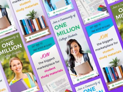 Studysoup Pinterest Ads college students studysoup design graphic ads pinterest