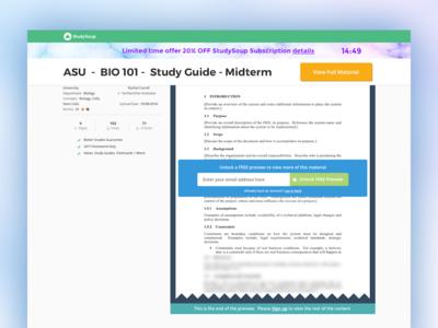 StudySoup On-Scroll public facing details page UI - desktop web-design ux ui study-guide college studysoup