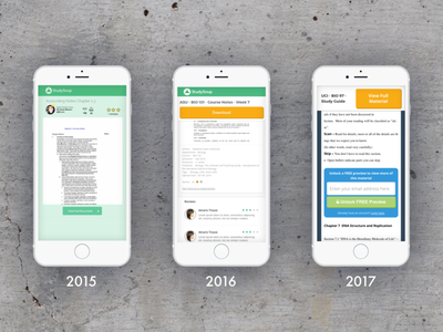 Mobile evolution of the StudySoup material page studysoup cro ux  ui ux mobile