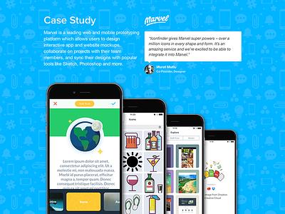 Marvel + Iconfinder case study pattern canvas prototype icons marvel iconfinder