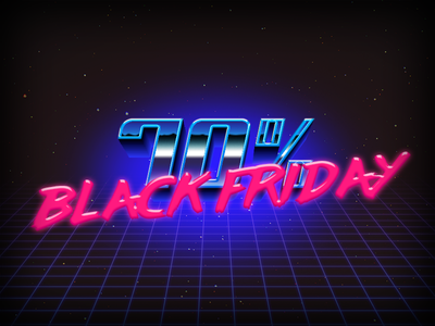 Iconfinder Black Friday neon 80s landing page black friday iconfinder
