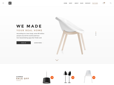 Chameleon Shop PSD Template Hero Block template shop product page psd design