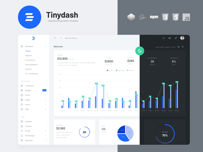 Tinydash Clean Bootstrap Admin Template - Cover Design dashboard template dashboard design e-commerce design dashboard ui bootstrap admin template template