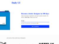 #dailyui #100 - Daily UI Landing Page 🎉 💯 🎉