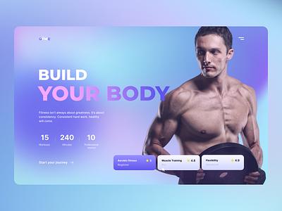 GYME - Workout Services Concept mesh gradient gradient gym workout ui design landing page