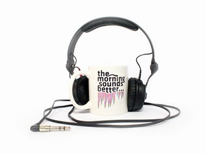 The morning sounds better... With you! mug music morning sound headphones start smile coffe