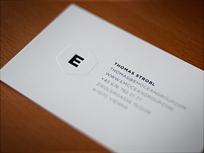 Emocean Group Embossed Business Cards By Thomas Strobl Dribbble