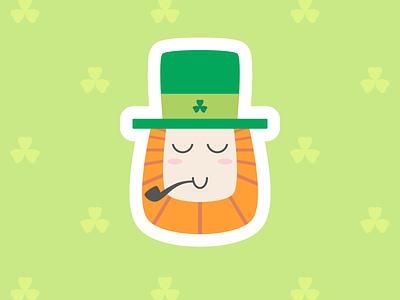 St. Patrick's Day ireland icon pipe red beard pattern clover green st patricks day st patrick saint patricks day saint patrick character sticker flat illustration