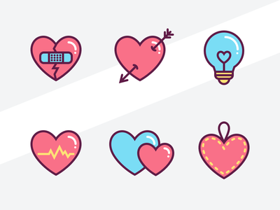 Heart Icon Set love valentines arrow sketch svg download free bulb lamp heart icon illustration