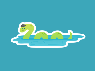 Nessie smile character hat water lake nessie monster ness loch sticker flat illustration