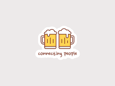 Beer Connecting People foam mug glass drink beer people connecting sticker line flat illustration icon