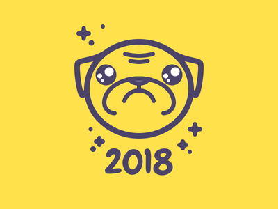 Chinese New Year 2018 china pug star 2018 earth yellow dog year new line illustration icon