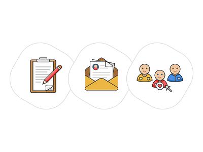 Color Line Icons workman builder text edit people select mail pencil color line illustration icon