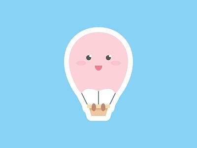 Air Balloon cute aerostat basket fly sky balloon air hot sticker flat illustration icon