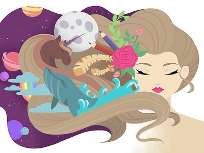 Designer's Mind wix playoff moon hair whale unicorn planet flower space girl designer mind illustration