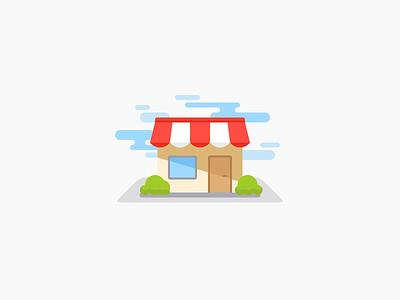 Shop Illustration shadow bush cloud sun shop mobile application app flat icon illustration