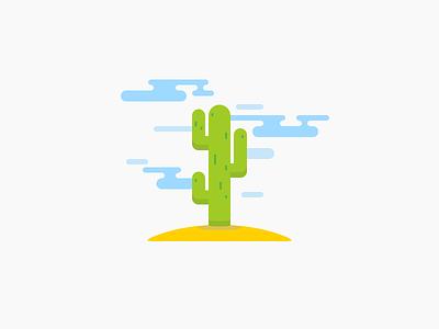 Cactus Illustration shadow sand cloud sun cactus mobile application app flat icon illustration
