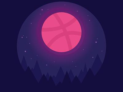 Dribbble Moon flat sky night illustration ball stars forest dribbble moon sticker