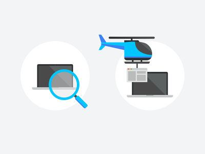 Illustrations for SelectStar circle website web search laptop illustration icon helicopter flat design database construct concept build