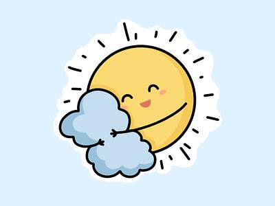 Sun cute smile emotion sun cloud design flat line character sticker illustration