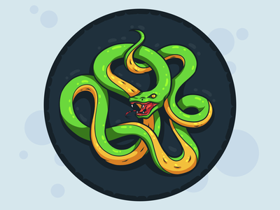 Snake drinks reptile circle design badge sticker coaster snake character line illustration