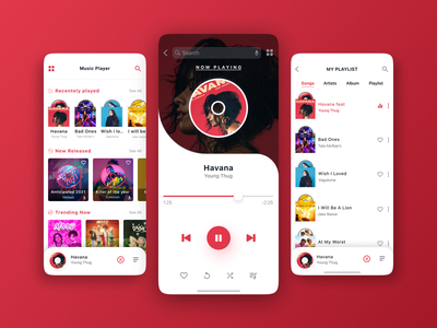 Music App UI Design - Let The Music Play! app music album music player app music player ui music art design ux ui mobile ui clean design play song minimal clean ui app design player music music player playlist music app