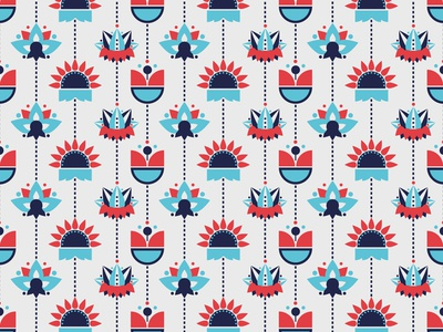 Flowers pattern red blue pattern flower