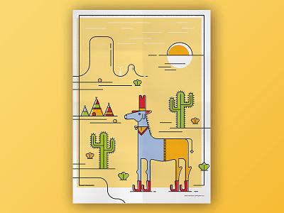 Horse illustrator desert tipi indian yellow green cactus sun horse