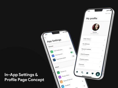 In App Settings and profile page concept UI app config in-app settings app settings profile page