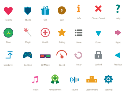Flat Game UI Buttons/Icons game design ui button ui download buttons icons material creative icon game flat