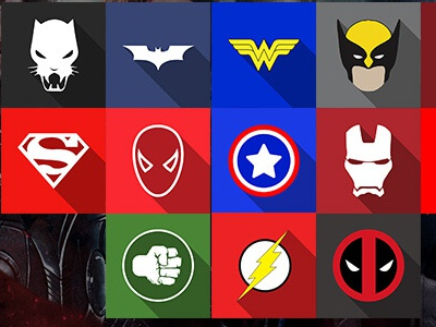 Flat Superhero Icons iron-man wonder-woman thor superman spider-man hulk flash deadpool captain-america black-panther batman