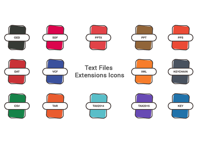 Text Files Extensions Icon Set key chain key ppt doc extension file type file