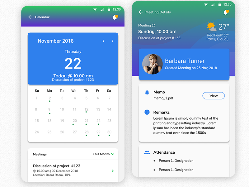 Meeting Minutes App | #MadeWithFigma management app minutes app meeting flat design ui