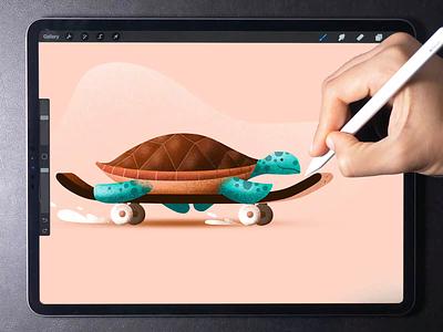 Skating Turtle illustration