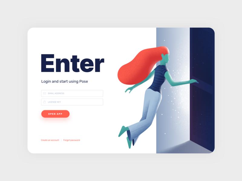 Pose - Login Screen illustraion product design web design