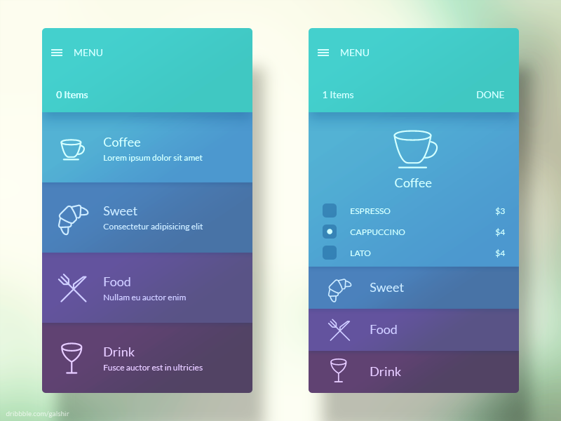 Menu Interface menu interface app mobile ui ux food coffee